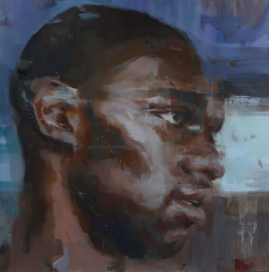 "Head of Martin.  2013, 59"" x 59"", (150 x 150 cm) oil on linen"