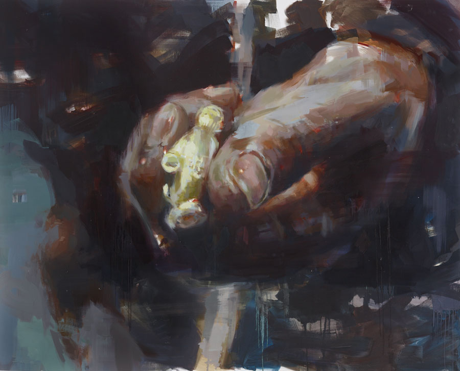 "The Golden Gloves.  2013, 79"" x 99"", (200 x 250 cm) oil on linen"