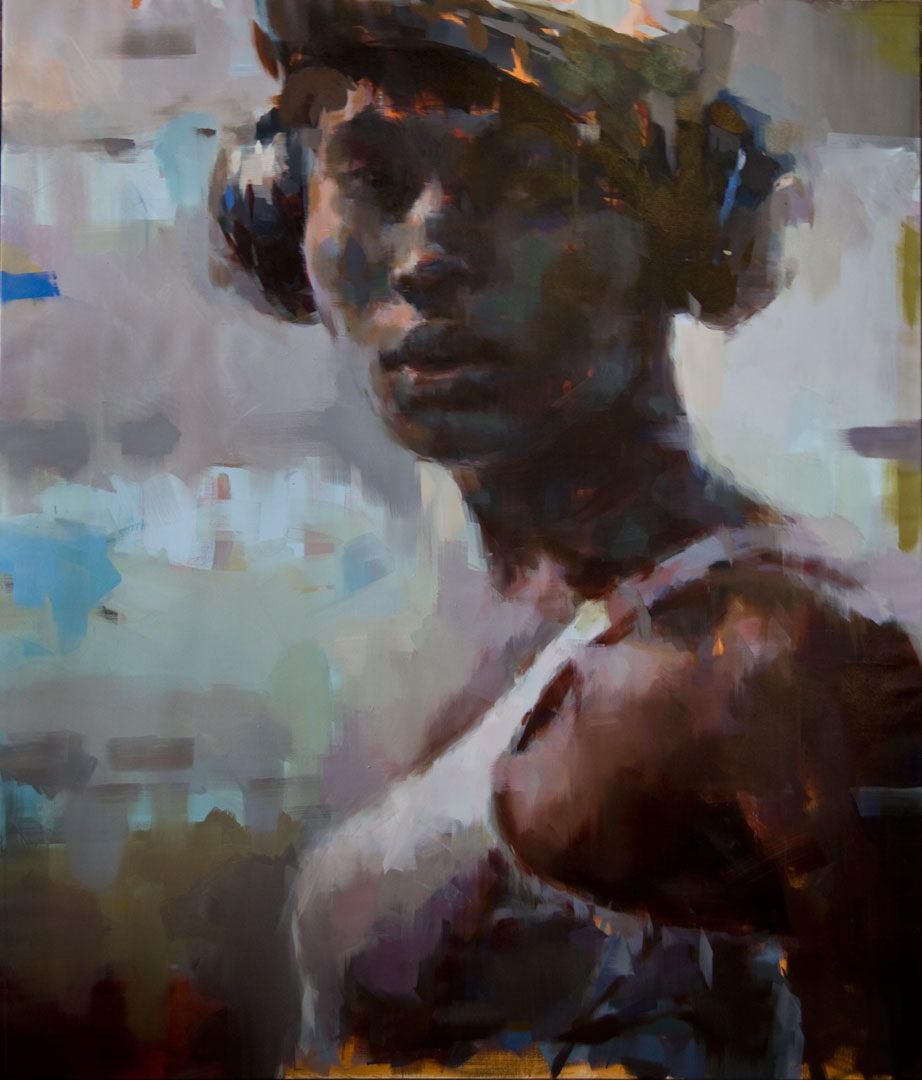"Imany # 2.  2010, 84"" x 72"", (213 x 183 cm) oil on canvas"