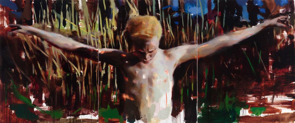 """Entre Chien et Loup. 2014, 79"""" x 99"""" x 3, (200 x 250 cm x 3), oil on linen"""