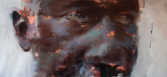 "Amadou # 2 . 2014, 76"" x 36"", (194 x 91 cm) oil on linen"