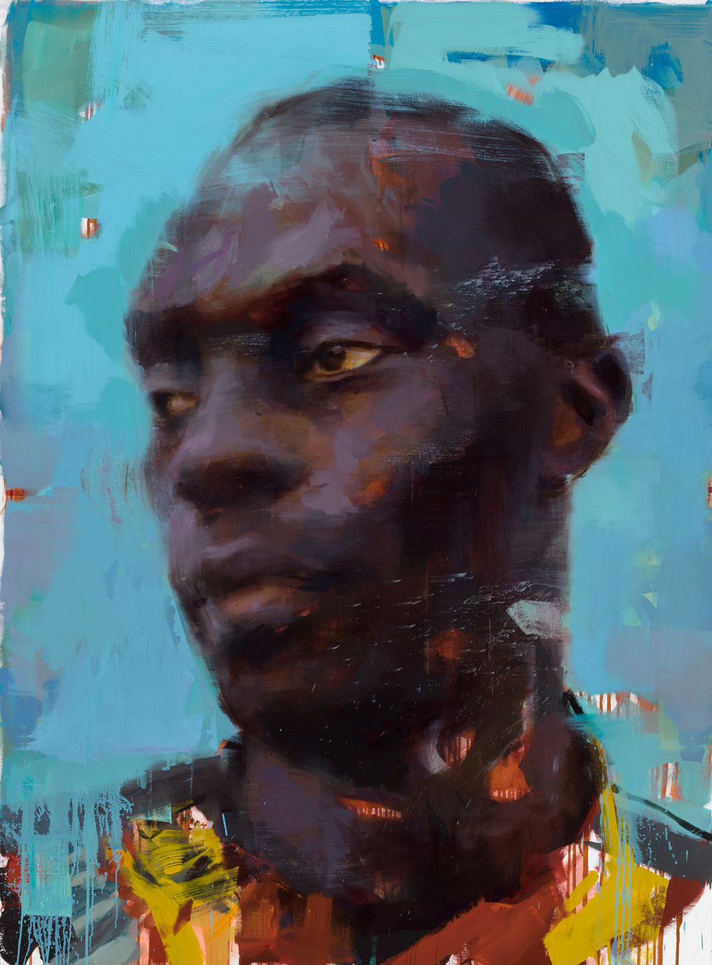 """Amadou""  2015, 79"" x59"", oil on linen."