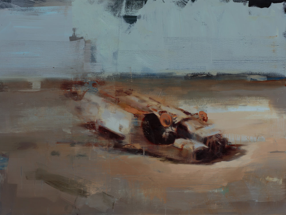 """"""" Land and Carcass""""  2017, 40"""" x 30"""" (100 x 76 cm), oil on linen."""