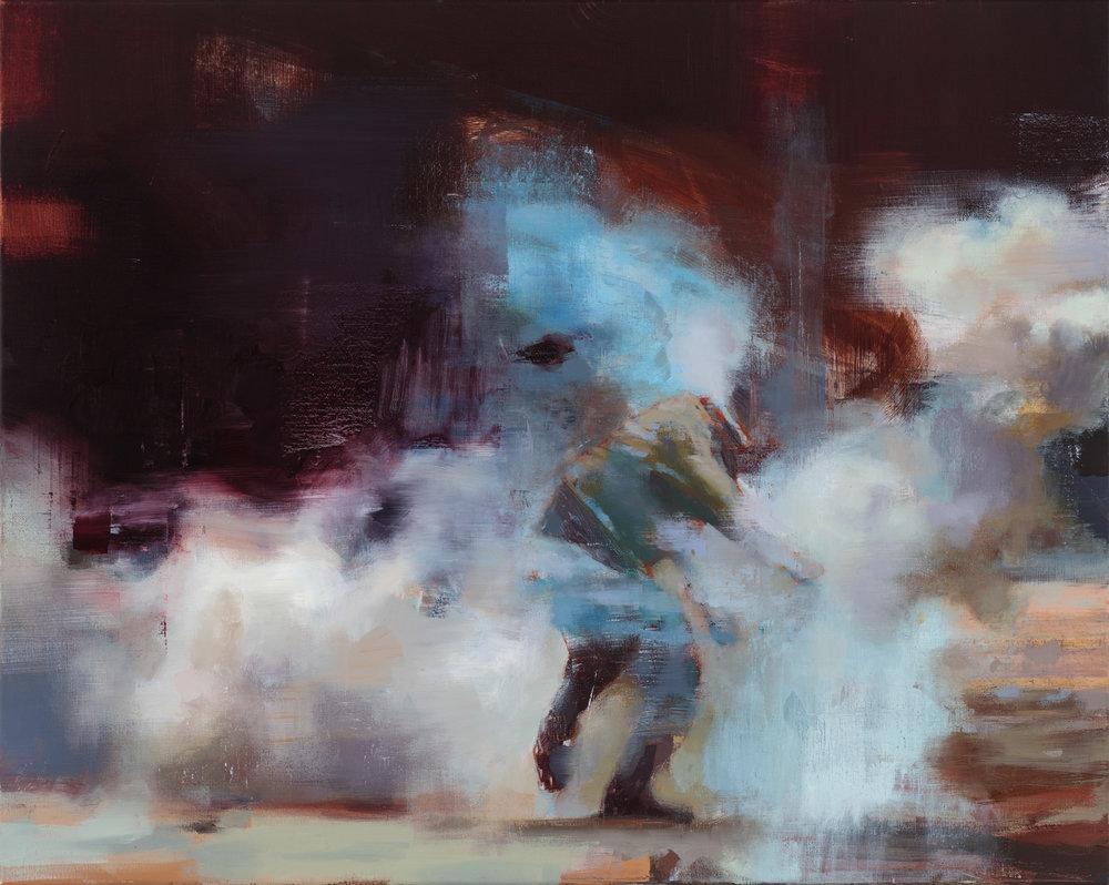 """"""" Blue Fog""""  2017, 24"""" x 26"""" (60 x 70 cm), oil on linen."""