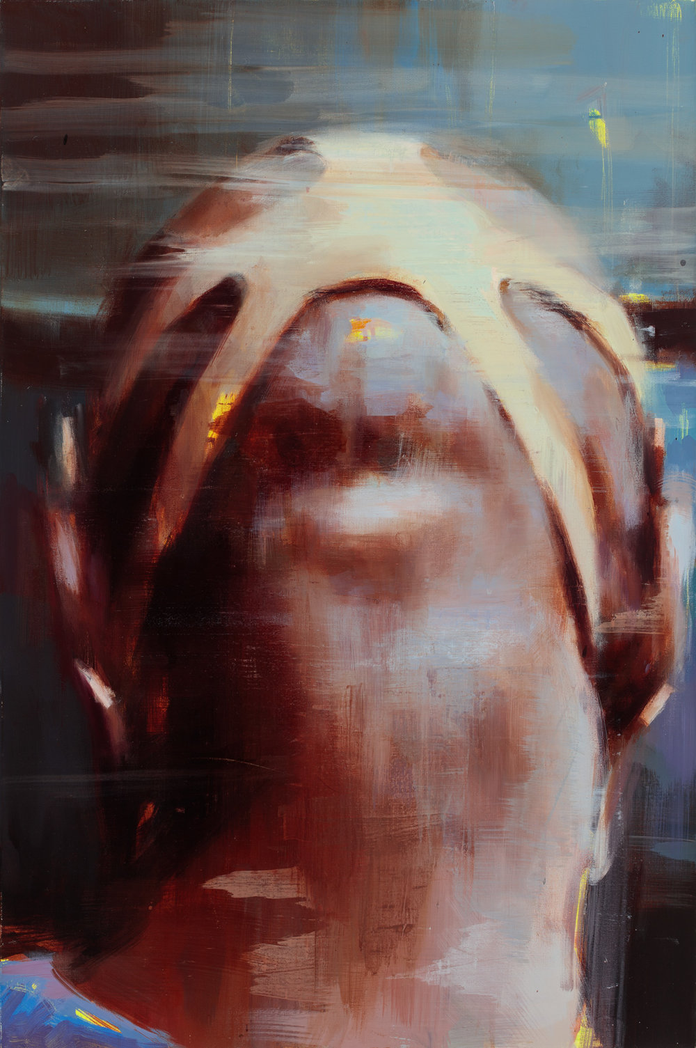 """"""" Back of a Protester's Head""""  2013, 36"""" x 24"""" (91 x 60 cm), oil on linen."""