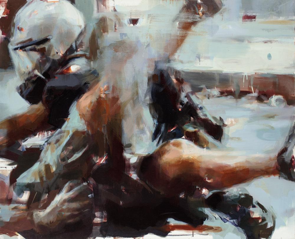 """"""" The Arrest""""  2012, 74"""" x 59"""" (188 x 152 cm), oil on linen."""