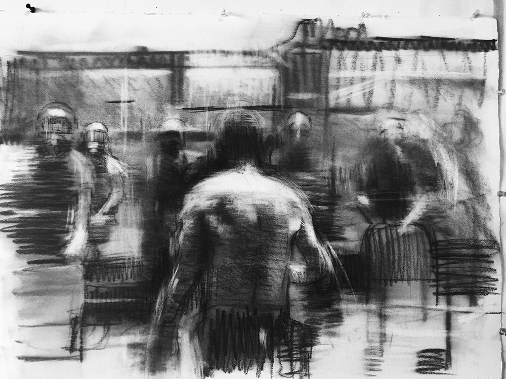 """""""Situation # 1""""  2015, 30"""" x 22"""" (76 x 57 cm), charcoal on paper."""