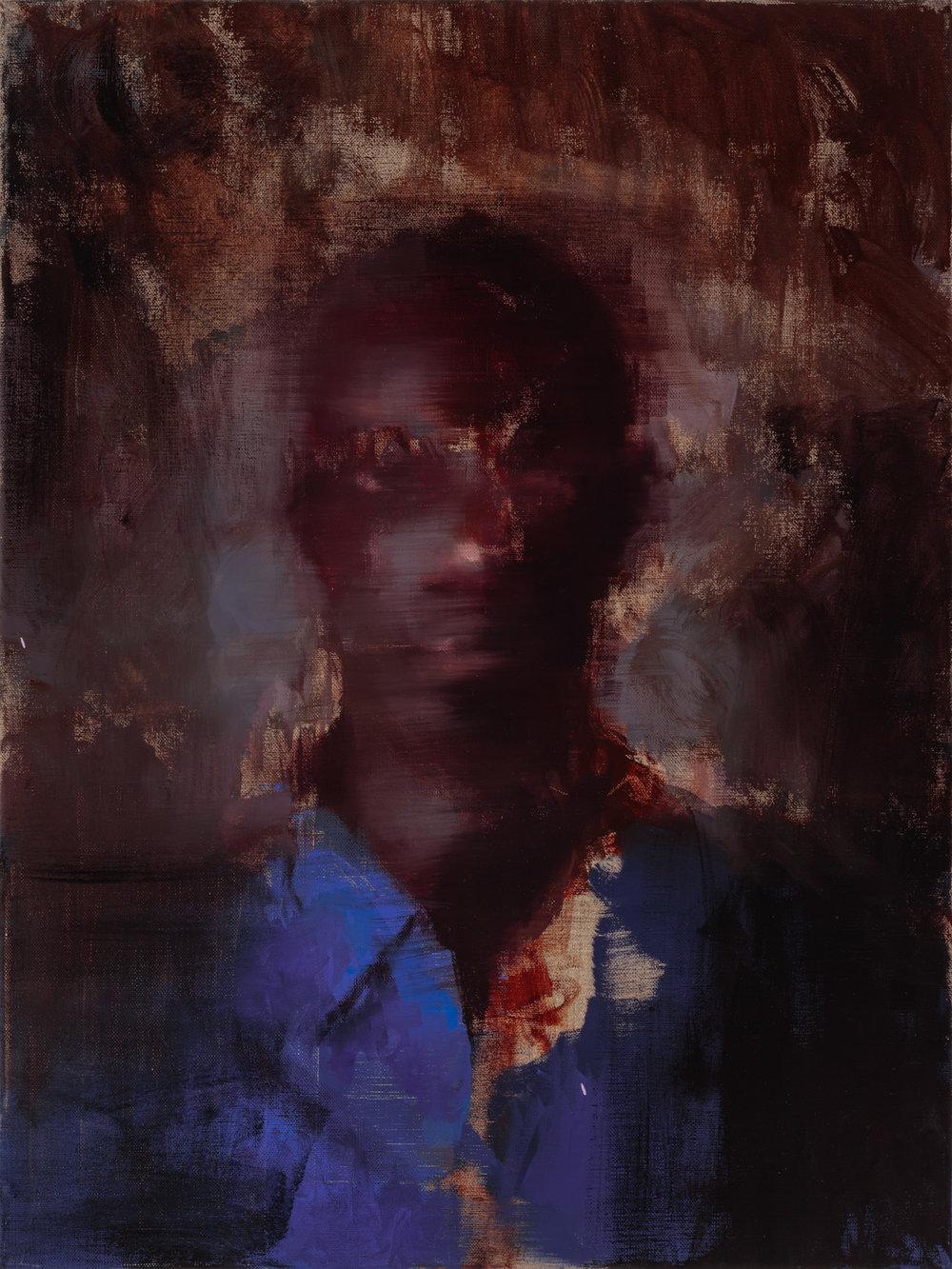 """Regarding Amadou""  2016, 16"" x 24"" (40 x 60 cm), oil on linen."