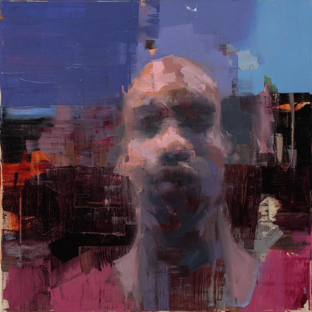 """"""" Self Portrait Somewhere""""  2017, 20"""" x 20"""" (50 x 50 cm), oil on linen."""