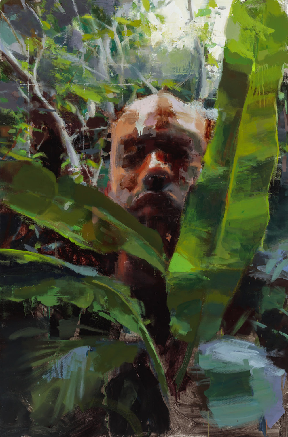"""""""In the middle of the Jungle"""" 2017, 72"""" x 54"""" (183 x 137 cm) oil on linen."""