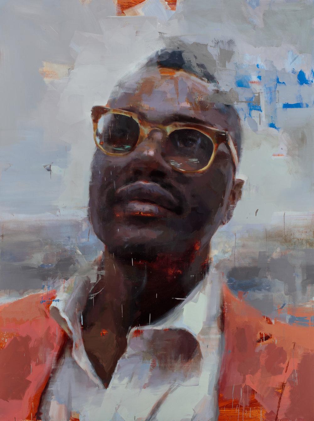 """""""Mister Gandy""""  2017, 96"""" x 72"""" (244 x 183 cm), oil on linen."""