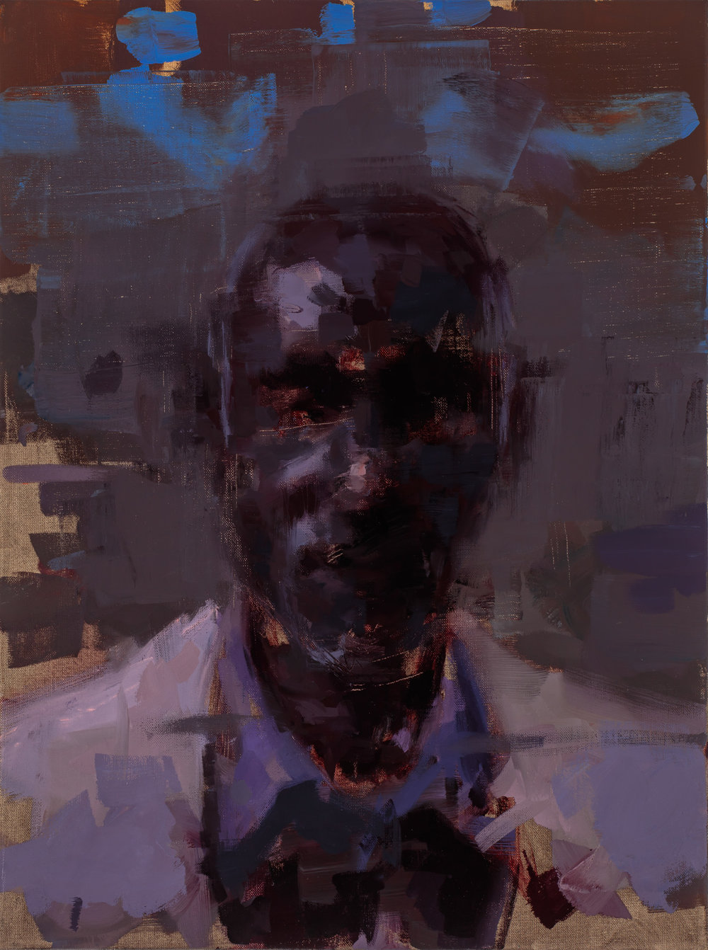"""""""Amadou at night""""  2017, 16"""" x 24"""" (40 x 60 cm), oil on linen."""