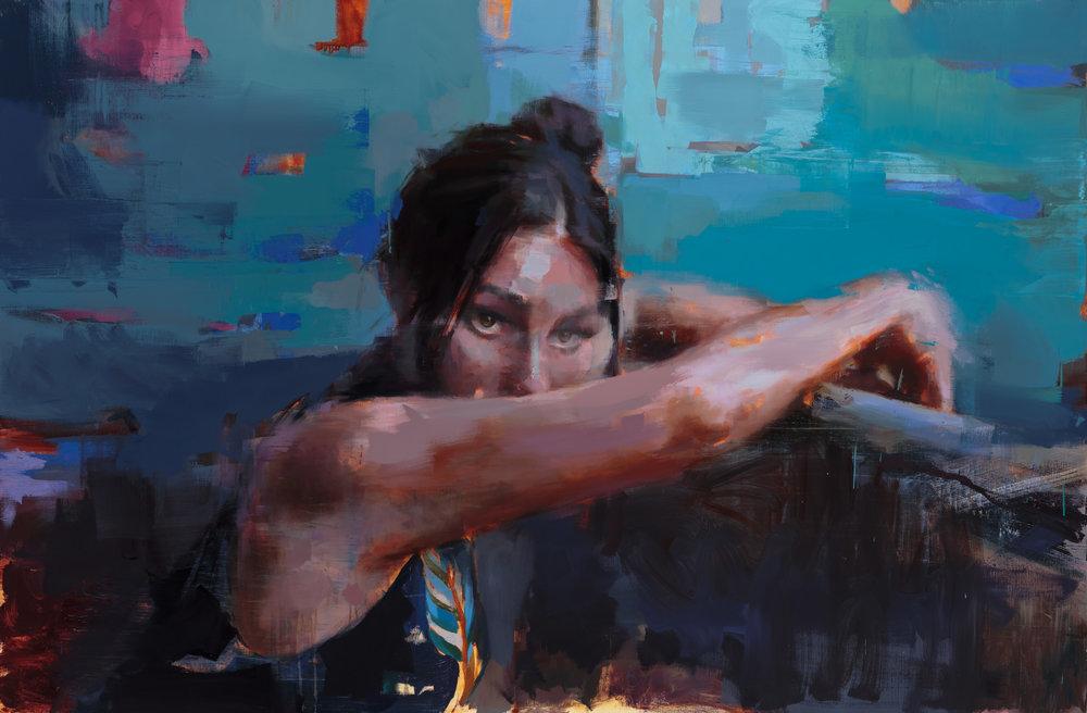 """ Jardin Secret""  2018, 82"" x 54"" (209 x 138 cm), oil on linen."