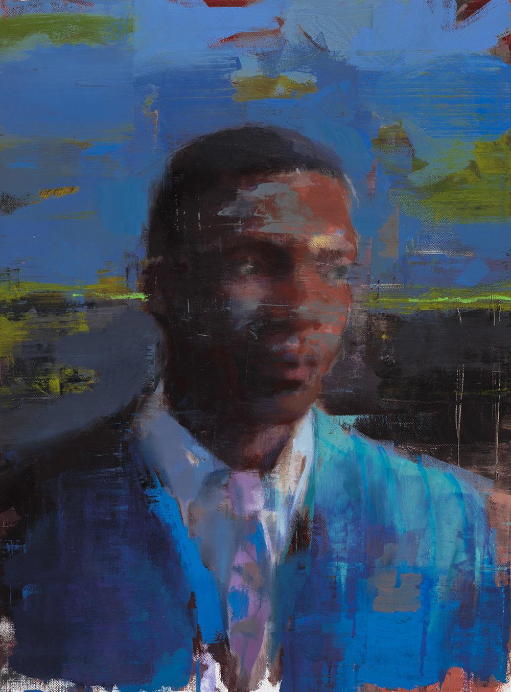 """ Young Coltrane  2018, 30"" x 21"" (73 x 54 cm), oil on linen."