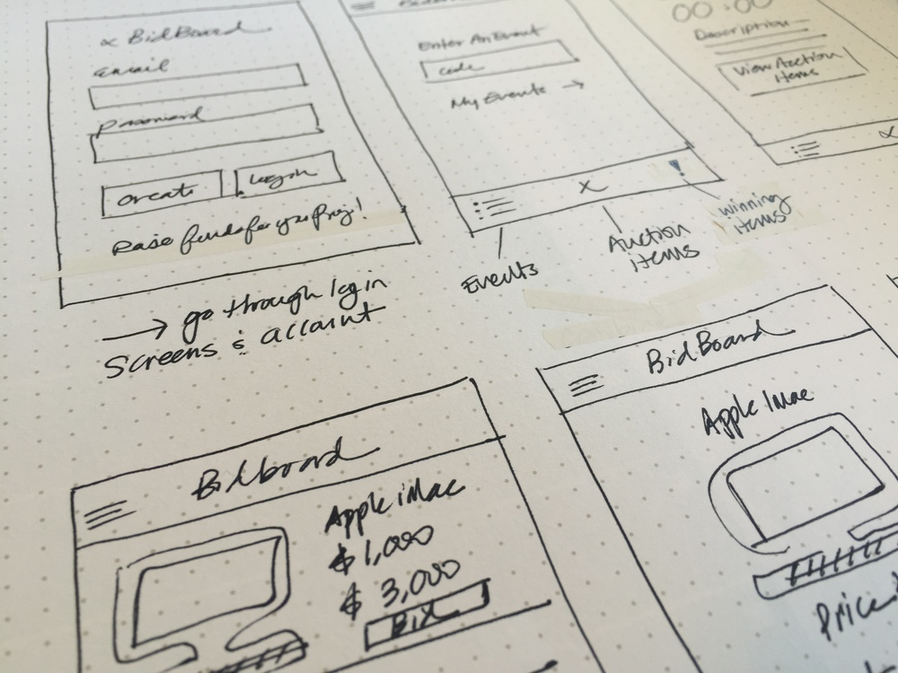 Bid Board App Creative Direction Sketches - KLN Design