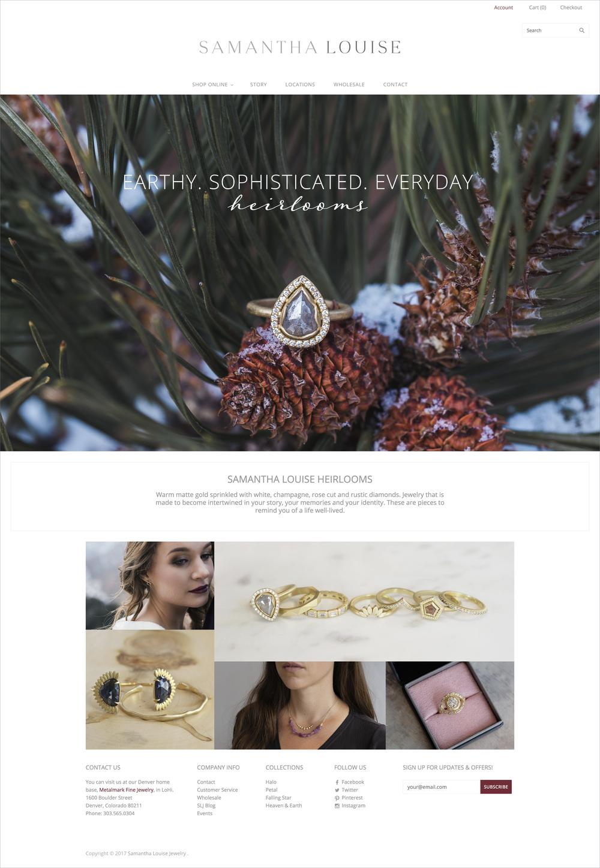 Samantha Louise Jewelry Homepage Design - KLN Design