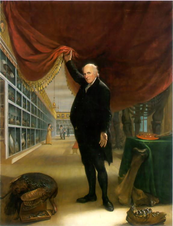 The Artist in his Museum, a self portrait by Charles Willson Peale. From the Pennsylvania Academy of the Fine Arts.