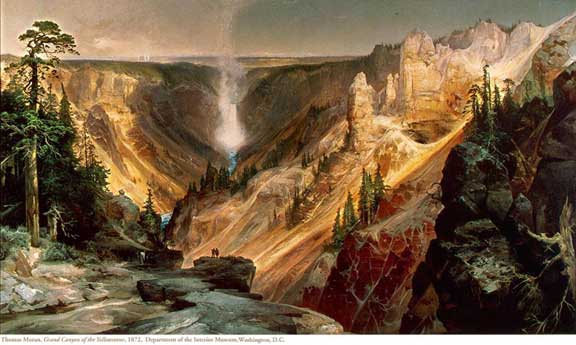 In Moran's The Grand Canyon of the Yellowstone sunlight falls on the park's spectacular rock formations, which are depicted with geological accuracy.