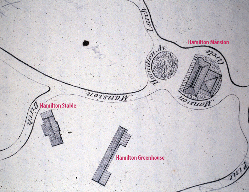 A Site Plan for The Woodlands Cemetery from 1846 depicts the location of Hamilton's greenhouse relative to the Mansion and Stable.