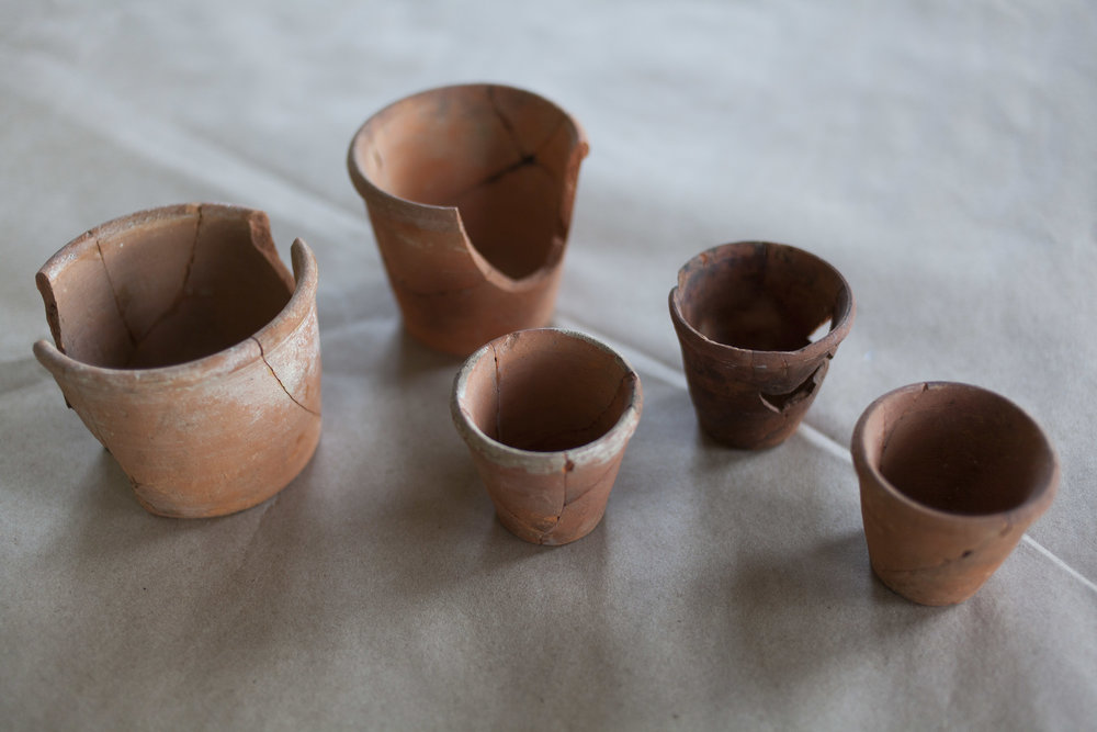Fragments of small, hand-thrown terra cotta pots used for starting seeds were also found. Photo: Starr Herr-Cardillo
