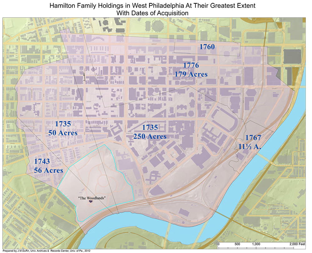 Hamilton Family Holdings in West Philadelphia at their greatest extent with dates of acquisition. Prepared by J.M. Duffin, Univ. Archives & Records Center, Univ. of Pa., 2012.