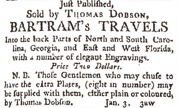 Travels as advertised in Dobson and Claypoole's Daily Advertiser, January 4, 1792. (Image courtesy of Jim Green of the Library Company of Philadelphia