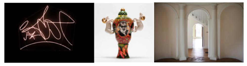 Leo Tecosky,  Tughra, Neon,  2016; Roberto Lugo,  Thurgood Marshall / W.E.B. Du Bois,  2018, courtesy of the Wexler Gallery, Philadelphia; The Woodlands, William Hamilton Mansion