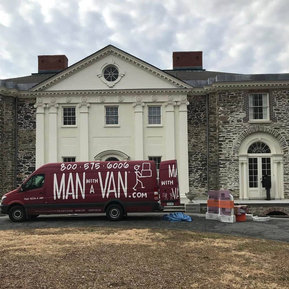 Man With A Van generously donated their services to help us get our platform, foam headstones, and supplies to the convention center! They are THE BEST. From this point on, explore the visual diary of our 2-day adventure in the convention center.