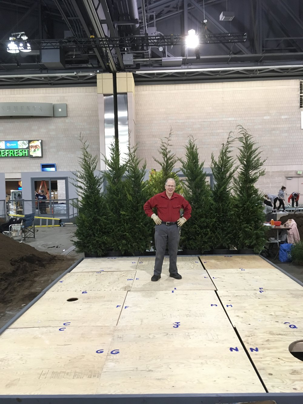 Here, Volunteer and Grave Gardener Joe Shapiro shows off the platform HE BUILT HIMSELF. Thank you, Joe!!