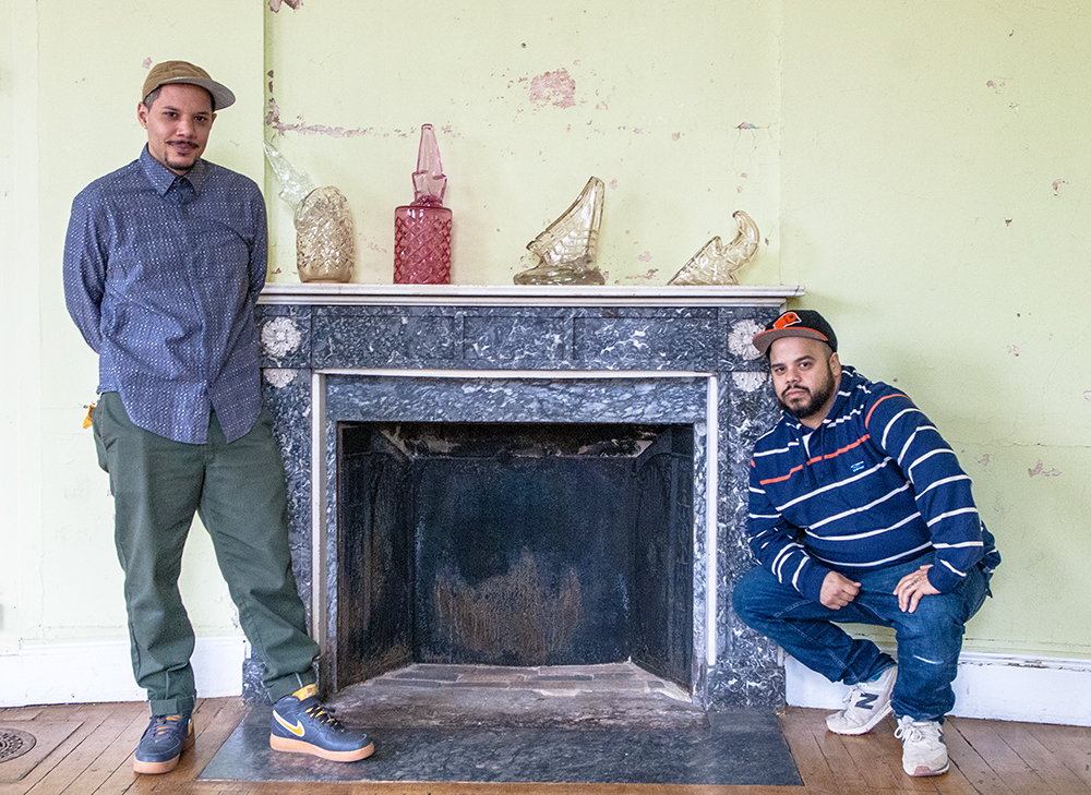 4. Leo Tecosky (left) and Roberto Lugo (right) with work by Leo Tecosky (with Simon Klenell).jpg