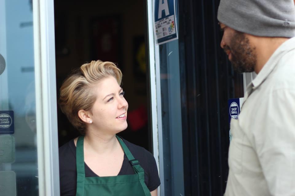 Kaela playing Trish, opposite David Harrison, on the set of 'Look Up.'