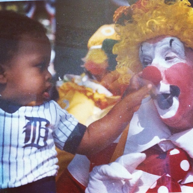 #tbt I made the front page before I could talk #babyrabbit #clown #detroittigers #notshy #detroitfreepress