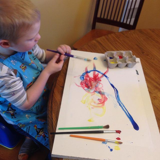 Henry hardly ever asks to paint, it's a good day when he does!