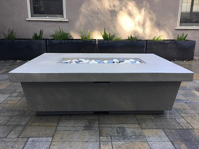 Contempo fire table by American Fyre Designs • Corten planters in background by @Planterworx • Hardscape and installation by @MarvelLandscapes • All material provided by Crown Valley Nursery • . . . . . . .  #firetable #firepit #firebowl #outdoorliving #outdoorroom #pasadena #crownvalleynursery