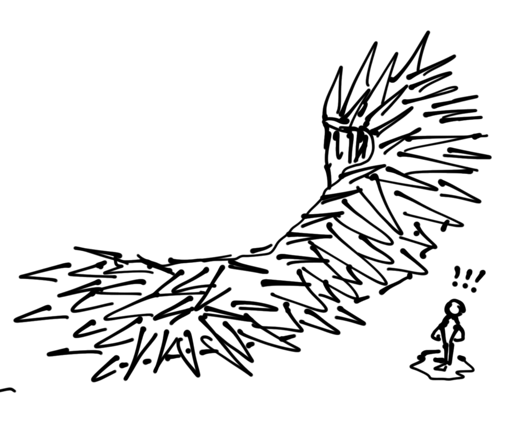 Sketch of a concept spine hedge barrier.