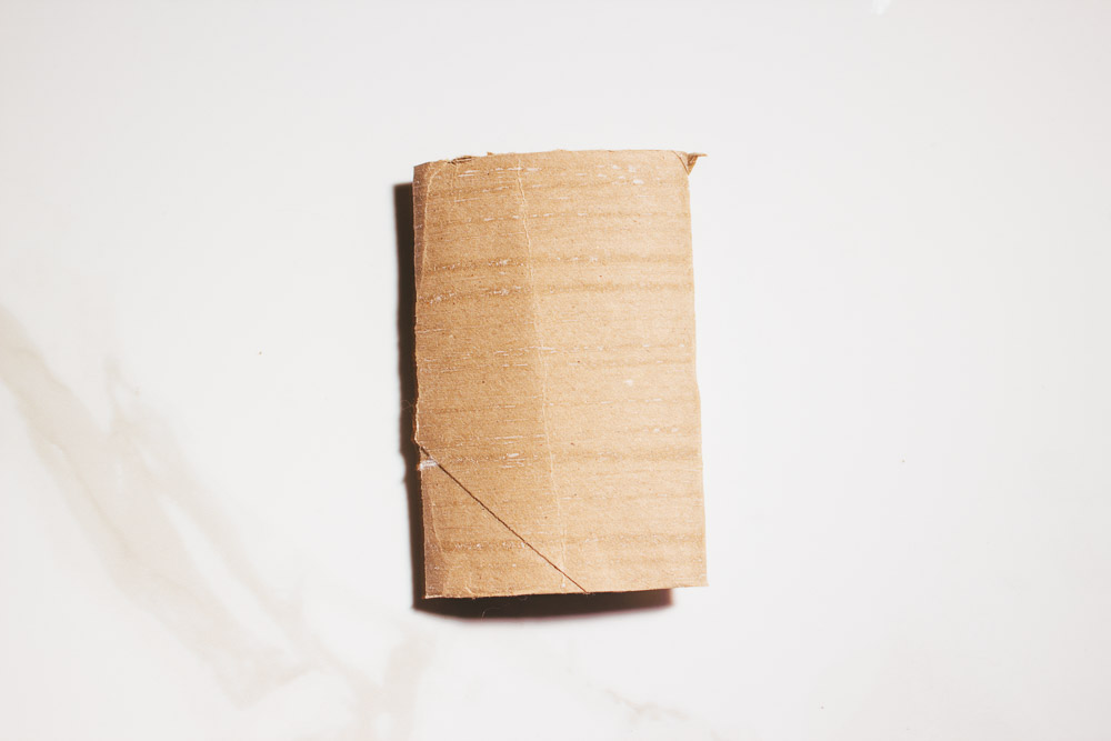 Step 1: Fold toilet paper roll in half