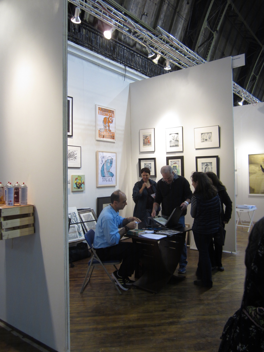 Paul Fernandez-Carol at NYC Fountain Art Fair, March 7-9, 2014. On the left wall, works by Michael Sieben. On the right wall, works by Glynis Sweeny.