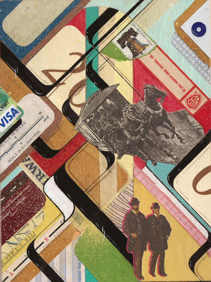 "BUSINESS BROTHERS - 8x6"" wood panel mixed media piece. Made from numerous things such as , maps , airline tickets, books, business cards matchbooks, pen ,acrylic paint , 45 sleeves, mail, old credit cards, and receipts"