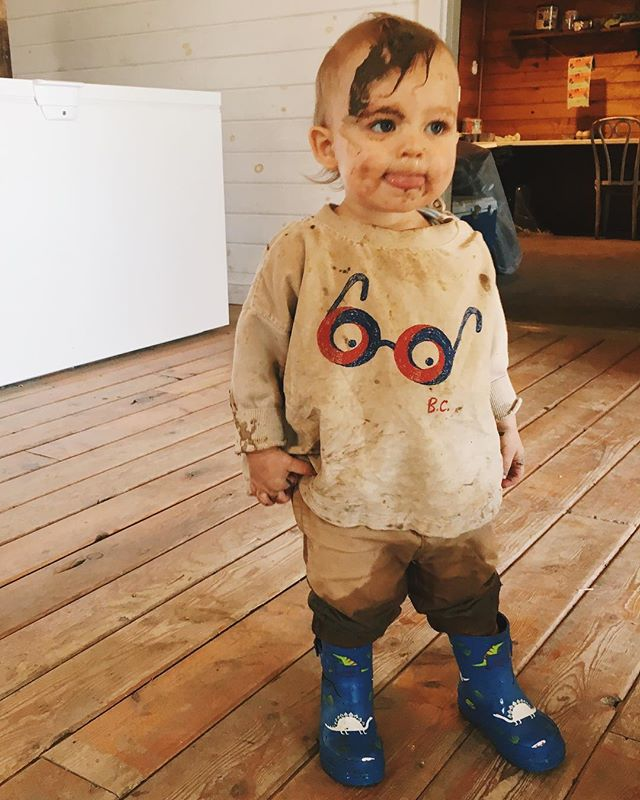 I got him new mud boots, not like it mattered. He also has a new bucket which very quickly was filled with rocks and a shovel which is great for, well, pretty much everything.