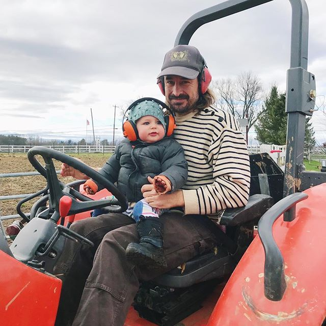 Hard at work on a chilly spring day. 🚜