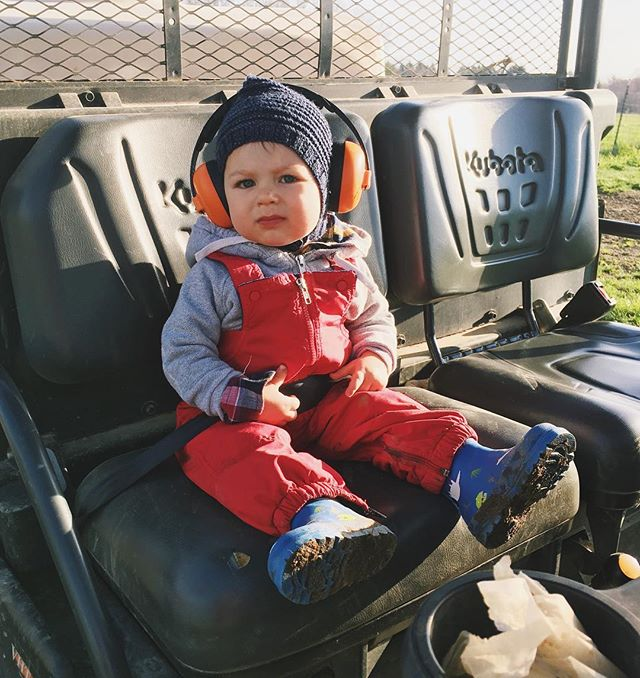 Banging out morning chores with Dad on this glorious day. This guy has also graduated from the lap to his very on seat on the RTV. He's growing too fast!
