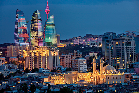The flame towers in Baku, capital city of Azerbaijan. (photo credit:   Hans-Juergen Burkard/Eyevine/Redux)
