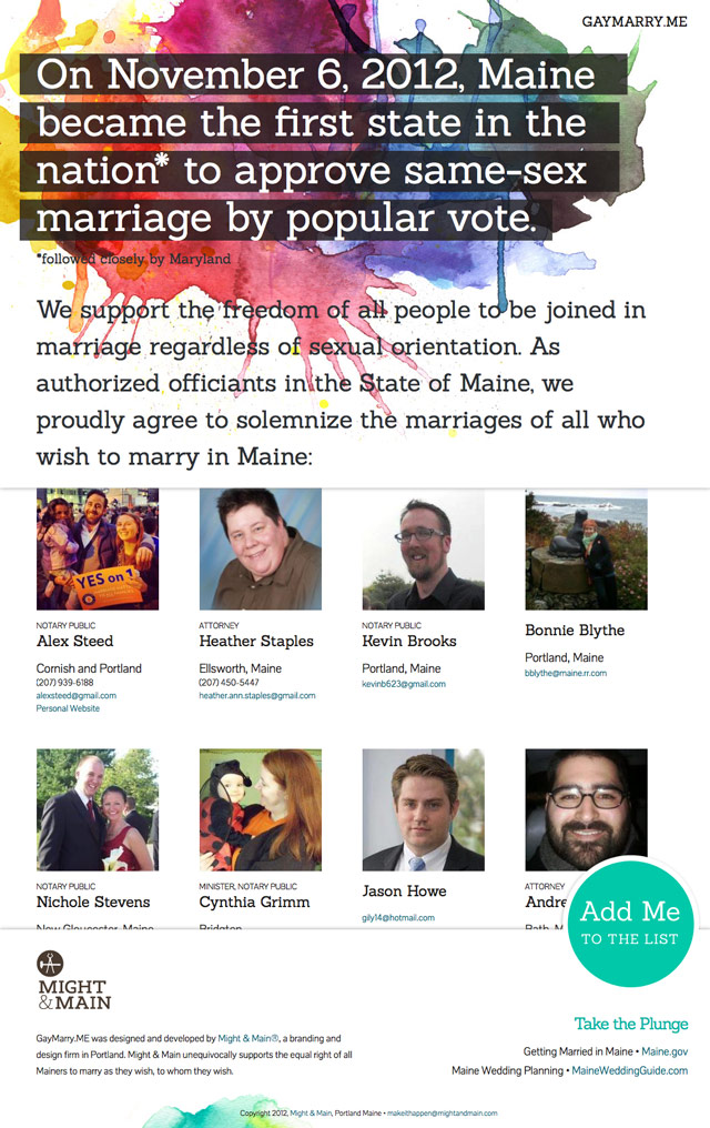 GayMarry.ME, a website designed by branding and design firm Might & Main, celebrating Maine's legalization of same-sex marriage.