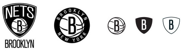 The logo assortment of the new Brooklyn Nets.