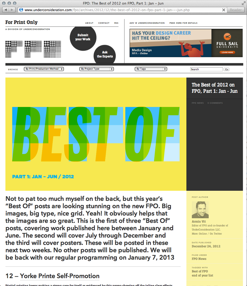 Under Consideration's FPO (For Print Only): Best of 2012