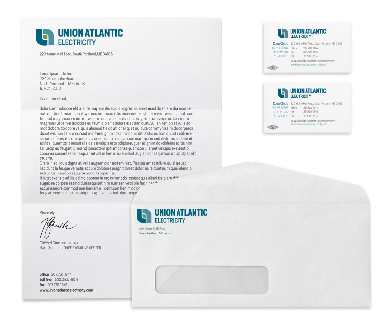 Union Atlantic Electricity business cards, envelopes designed by brand design firm Might & Main