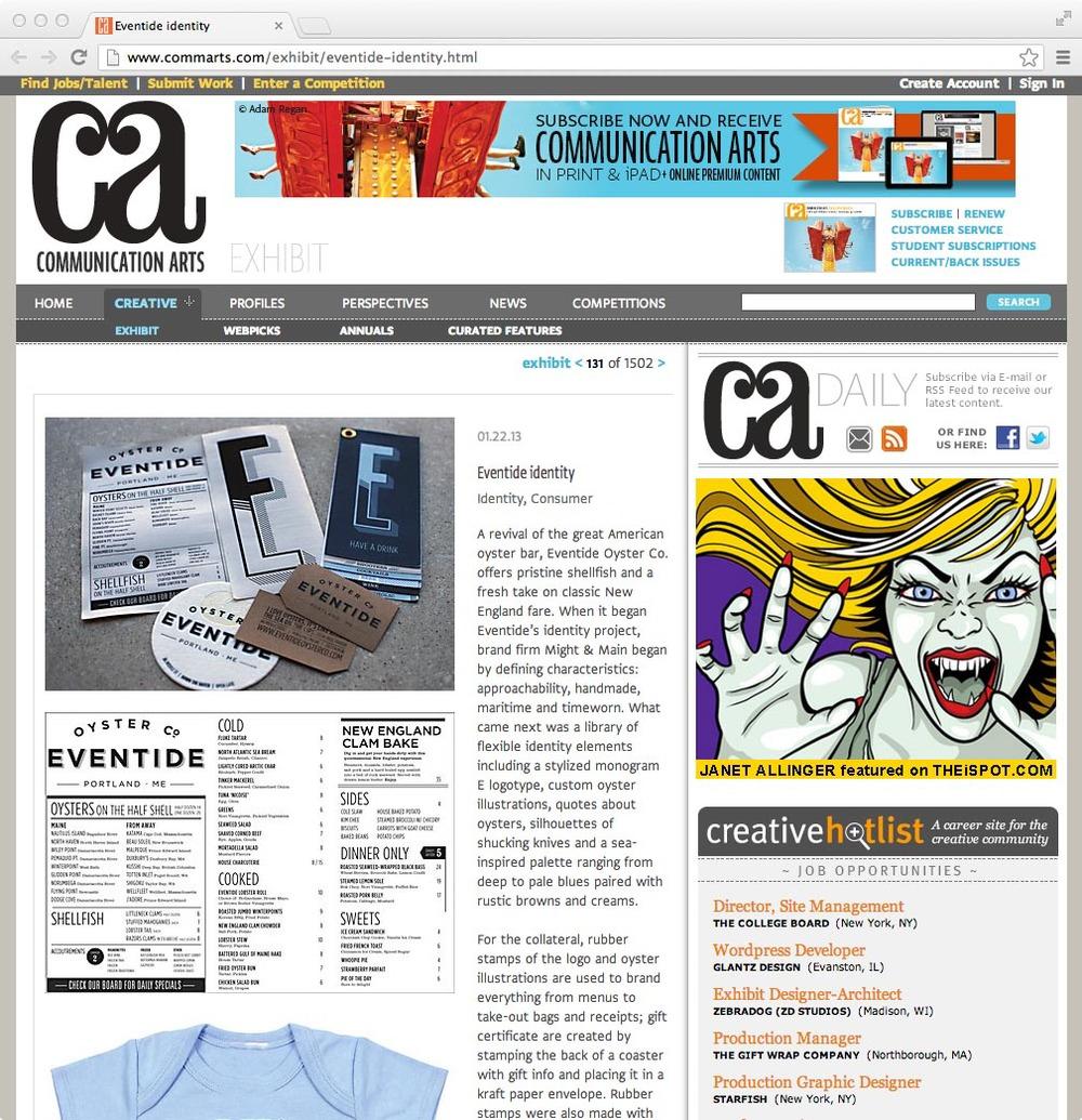 Communication Arts: Exhibit, January 22, 2013
