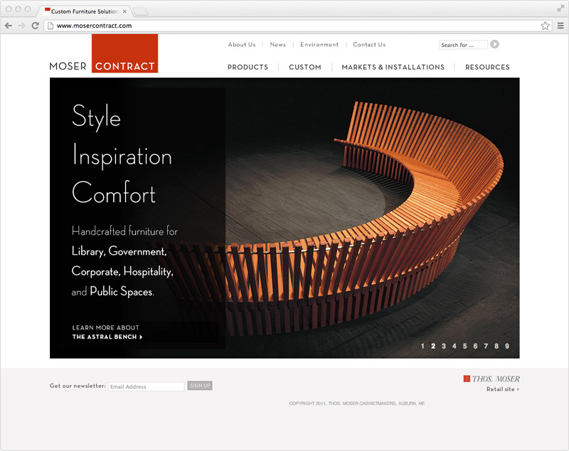 Thos. Moser website designed by brand design firm Might & Main