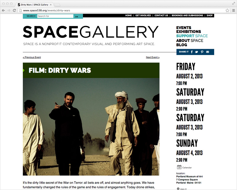 SPACE Gallery web design by brand design firm Might & Main