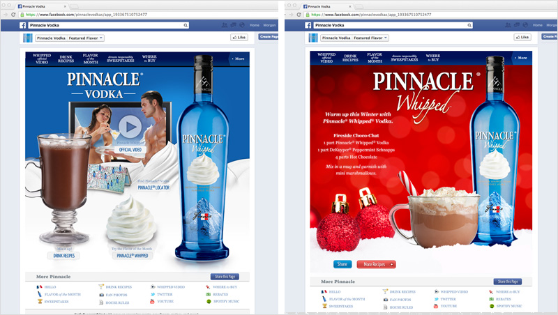 Pinnacle Vodka social media designed by brand design firm Might & Main
